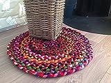 Second Nature Fair Trade klein rund 60cm bunten Matte recyceltem geflochten Chindi Flickenteppich