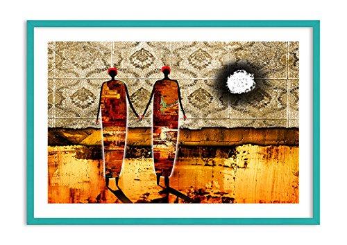Bild im blauen Holzrahmen - Bild im Rahmen - Bild auf Leinwand - Leinwandbilder - Breite: 100cm, Höhe: 70cm - Bildnummer 0659 - zum Aufhängen bereit - Bilder - Kunstdruck ()
