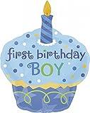 Anagram 11992301 - Party und Dekoration - Folienballon SuperShape - 1. Geburtstag Junge, Cupcake, circa 91 x 74 cm