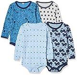 PIPPI Unisex Baby 4er Pack Aufdruck, Langarm Formender Body, Blau (Blue 725), 74 cm