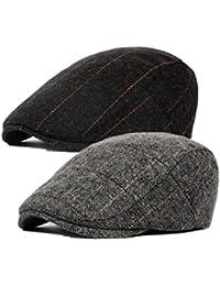 Decstore Paquete de 2 Hombres Beret de Algodón Plano Tapa Ivy Cabbie Newsboy Hat Otoño Verano Sombrero