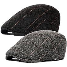 Decstore Paquete de 2 Hombres Beret de Algodón Plano Tapa Ivy Cabbie  Newsboy Hat Otoño Verano 9ee4084a671