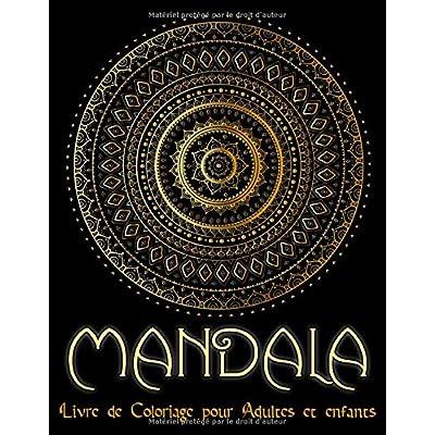 Mandala: Cahier de coloriage adultes  avec 95 Mandalas pour adultes sur fond noir pour des couleurs fantastiques | Modèles de coloriage gratuits au format PDF pour impression