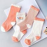Los niños ZYTAN calcetines calcetines bebé de tubo largo cañón bebé calcetines de algodón puro,caracol naranja,L código 1-3 años 5 pares