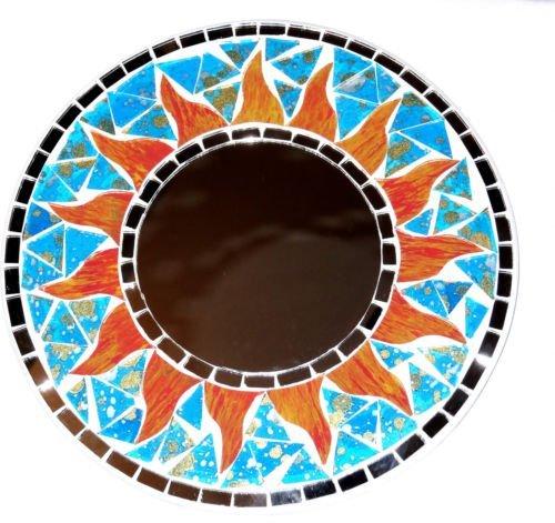 Mosaico-Espejo-sol-mosaico-turquesa-azul-hielo-20-cm-madera-Craft-sol-mosaico-Espejo