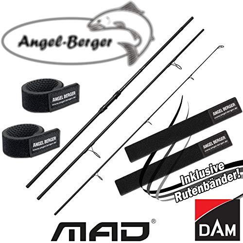 Angel-Berger Dam Mad XT1 Karpfenrute Angelrute Grundrute Rutenband (3 Teilig, 3.60M 3.00lbs)