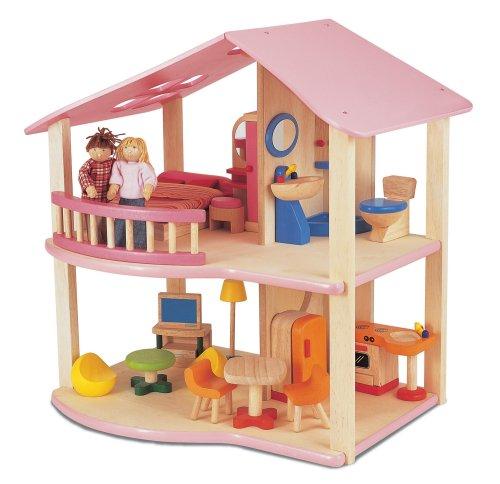 Pintoy Puppenhaus rosa aus Holz mit Zubehör