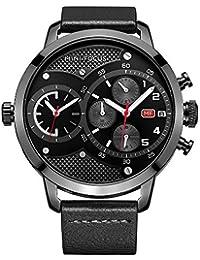 HVDHYY Reloj para Hombre Doble Zona Horaria Reloj Deportivo de Moda Cronógrafo Reloj de Cuarzo Impermeable