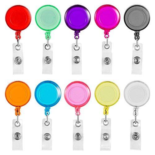 SODIAL Clip auf versenkbare Abzeichen Reel mit Guertelclip fuer ID-Karten Badge Key Keychain Halter 10 Stueck verschiedene Farben