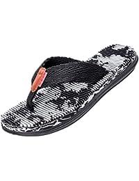Yiiquanan Herren Atmungsaktiv Weichen Streifen Flip Flops Farbdruck Anti-Rutsch Sandalen Bequem Slippers