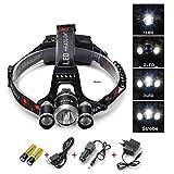 Rixow LED Kopflampe Super Helle 5000lm Stirnlampe Stirnleuchte 4 Modi