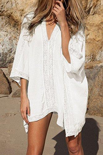 Frauen Sommer Hot Deep V Los Bikini Vertuschung Batwing - Bademode  Badeanzug White ...