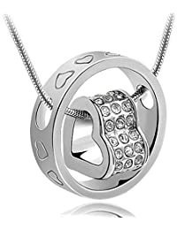 Valentine Gifts For Girls / Girlfriend : Shining Diva Silver Heart Pendant Necklace Jewellery for Women & Girls