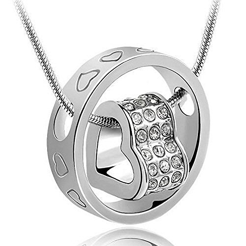 Valentine Gift - A Heart Full of Love [Silver] 18k White Gold Plated Pendant Necklace