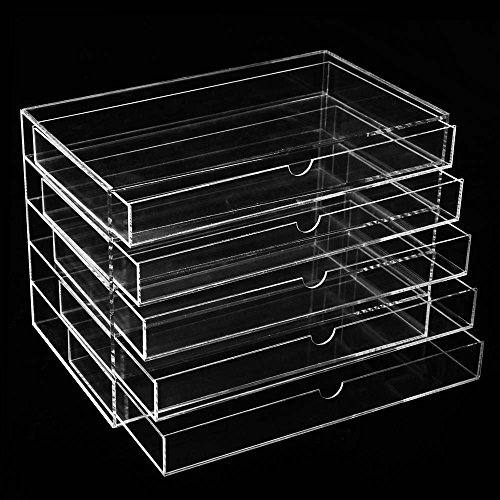 BATHWA Kosmetik Aufbewahrung Organizer Acryl Box, 5 Schubladen Transparent Make up Schmuck Kosmetikschrank 26.2 x 16 x 17.5cm (L x W x H)