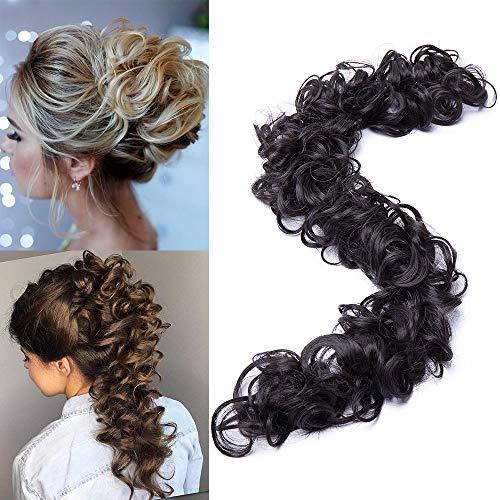 """TESS Haarverlängerung Dunkelbraun Ponytail Extension DIY Haargummi Haarteil Dutt Synthetik Haare für Haarknoten Zopf Pferdeschwanz Hair Extensions 32\"""" (80cm) 85g"""