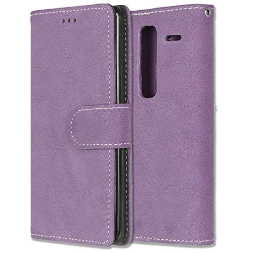LG Zero / Class / H740 Hülle, Chreey Matt Leder Tasche Retro Handyhülle Magnet Flip Case mit Kartenfach Geldbörse Schutzhülle Etui [Lila] -