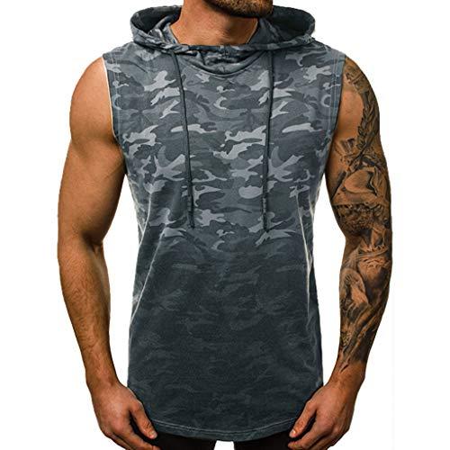 TEBAISE Tank Tops Herren Camouflage Drucken T-Shirt Tarnung Fitness Gym Shirt Sport Muscleshirt Vest West ärmelloses Kapuzenweste Trainingsweste lässig Bluse mit Kapuze 2019 Sommer -