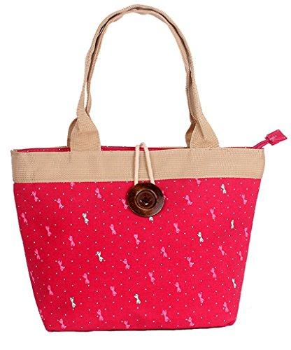 Fortuning's JDS® Nuovo stile floreale tela stampata con disegno del tasto di legno borsa da lavoro borsa tote rosa stile papillon