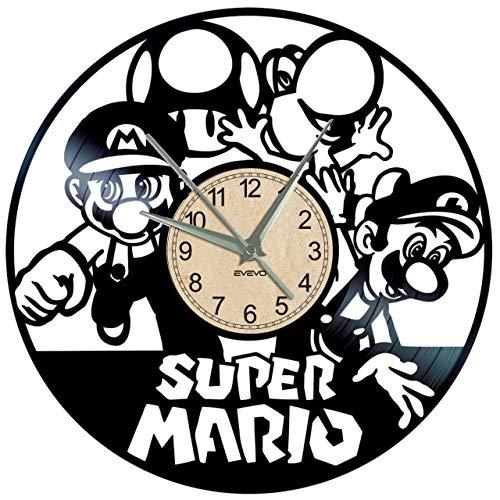 EVEVO Super Mario Wanduhr Vinyl Schallplatte Retro-Uhr groß Uhren Style Raum Home Dekorationen Tolles Geschenk Wanduhr Super ()