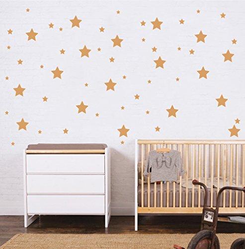 """Pegatina de pared para habitación infantil """"Set 150 ud. ESTRELLAS ADHESIVAS """" Vinilos decorativos de estrellas. Vinilo para decorar habitaciones. Pegatinas decorativas para pared modelo Docliick DC-18010 (Oro)"""
