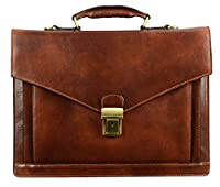 Leather Briefcase, Leather Laptop Bag Medium Brown, Leather Attache - Time Resistance