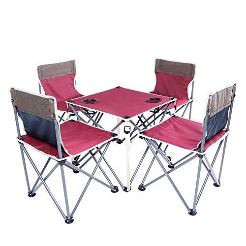 tisch und Stühle, Klapp-Camping-Tisch und Stuhl-Set, tragbarer selbstfahrender Picknick-Angelstuhl für draußen, Kombination aus dreiteiligem und fünfteiligem Anzug,B ()