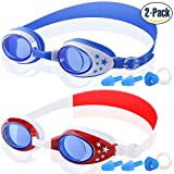 COOLOO Kids Swim Goggles, Pack of 2, Swimming Goggles for Children and Early Teens from 3 to 12 Years Old, Anti-Fog, Waterproof, Clear Vision, UV Protection