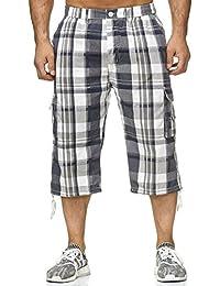 Hommes Bermuda Shorts 3 4 Pantalon décontracté Carreaux H2265 18960ad5c97
