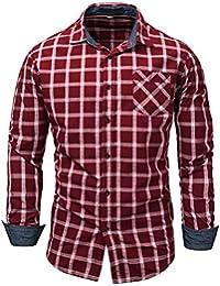 Chemise Homme à Carreaux Coton Manches Longues Slim Fit Basic Causal Business Loisirs M-3XL