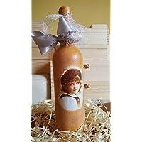 Decorativa botella de cristal francés Boy Vintage Retro Decorado a mano hecha a mano decorada con