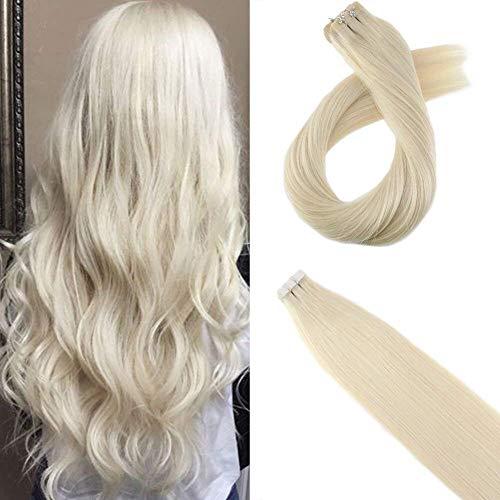 Moresoo 24pollice/60cm remy tape in hair estensioni colori #60 platino bionda 100% umano capelli naturale bresilien remy capelli 20pcs/50g