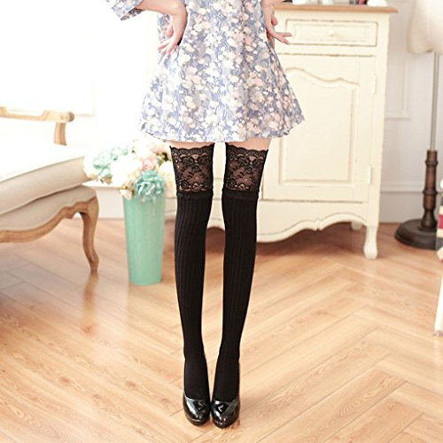 Lace Top Thigh High Stockings Classic Stocking Leggings Socks Black ()