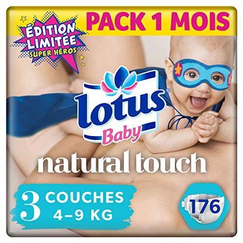 Lotus Baby Natural Touch – Couches Taille 3 (4-9 kg) - lot de 4 packs de 44 couches (x176 couches)