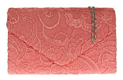 H&G Damen Satin Lace Clutch Bag Schulter Kette elegante Hochzeit Abend Womens - Coral (Hobo Coral)