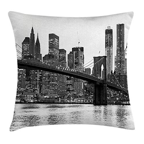(Modern Pillow case Brooklyn Bridge Sunset with Manhattan American New York City Famous Town Image 18 X 18 inches)