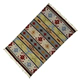 Multicolour Jute Baumwolle Indian Rug Bodenführung Woven Rag Dari Kinder Spielen Wurf 58 X 34 Zoll