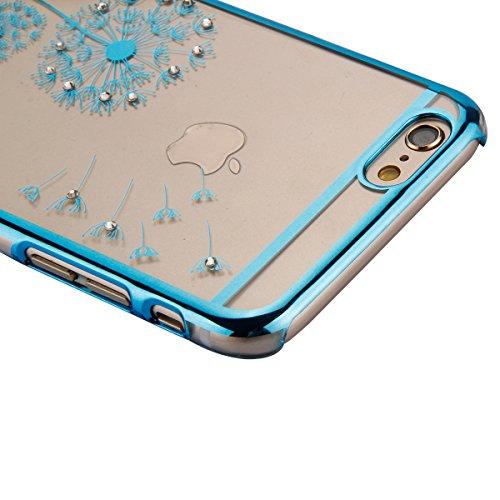 Coque Housse Etui pour iPhone 6, iPhone 6 Coque en Silicone avec Bling Diamant, iPhone 6 Placage de diamant Or Rose Coque Rose Gold Etui Housse, iPhone 6s Or Rose Coque Rose Gold Etui Housse avec Blin Pissenlit-Bleu