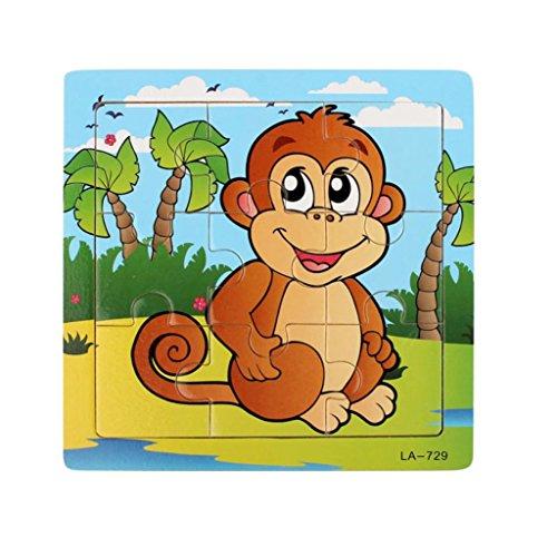 Hölzernes Pädagogisches Puzzle Für Geschenk, Sansee Wooden Puzzle Pädagogische Entwicklungs-Baby Kinder Training Spielzeug #1135 (#1135, Affe (Affen Baby Muster Kostüm)