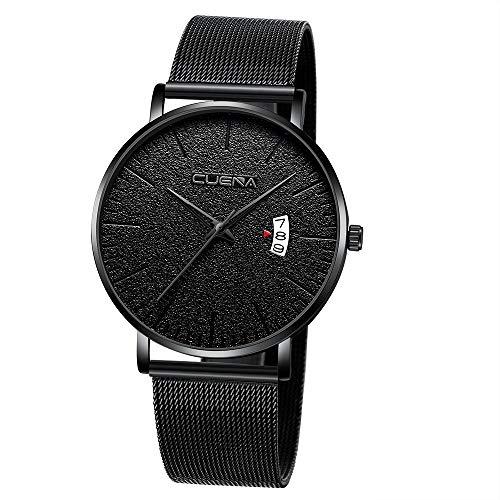 Waselia Uhr MäNner Luxusuhr Quarzuhr Edelstahl Zifferblatt Analoge Uhr Quarz 43Mm UltradüNne Einfache Uhr Wasserdicht Datum Mesh Mode Multi-Color