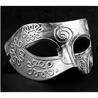 Mens Romano Gladiador estilo de la cara de la máscara de la mascarada del carnaval de la bola (Medium, Plateado)