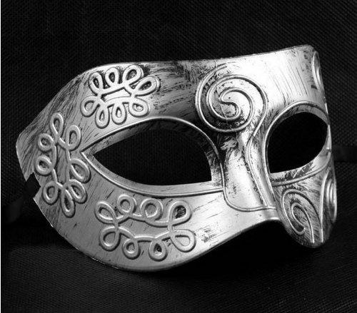 YPSelected Mens Romano Gladiador estilo de la cara de la máscara de la mascarada del carnaval de la bola (Medium, Plateado)