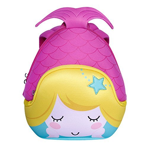 Nohoo bambini 3d mermaid zaino bambini scuola viaggio borse impermeabili (viola)