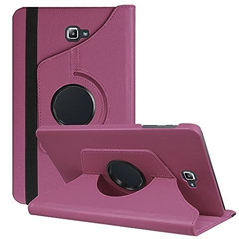 HZSSEC 360° Rotation Housse étui Coque pour Samsung Galaxy Tab A 10.1 SM-T580N / SM-T585N (A6) (2016 Version), 360 degrés Rotation Coque en Cuir pour Samsung Tablette Housse de protection Etui avec la fonction de stand Case Cover - Violet
