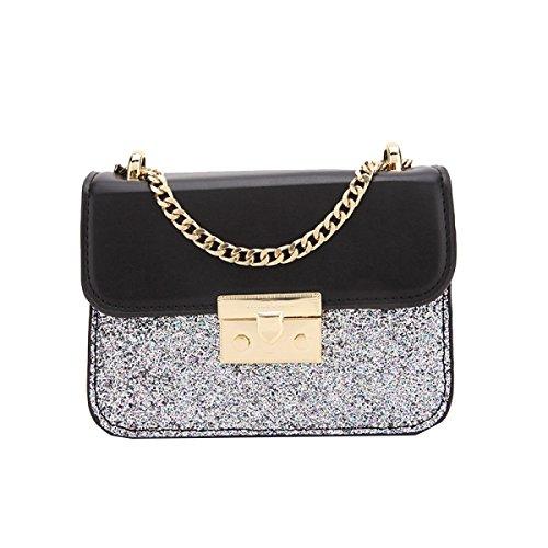 Yy.f High-End-Mode-Handtaschen Funkelndes Silber Umhängetasche Kleines Quadratisches Paket Handtaschen Taschen 2 Farben Art Und Extrinsische Intrinsisches Und Praktisch Black