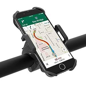 Porta Smartphone Bici TaoTronics Supporto Bici Smartphone, Supporto Cellulari per Dispositivi iOS & Android/GPS (Morsetto Antiscivolo, Rotazione a 360 Gradi, Grip in Gomma per 4 Angoli Bloccati)