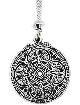 Handgemachte Keltische Knoten Rune Drachen Schild Zinn Kette Anhänger ~ Schutz (mit der 22 Zoll Kette)
