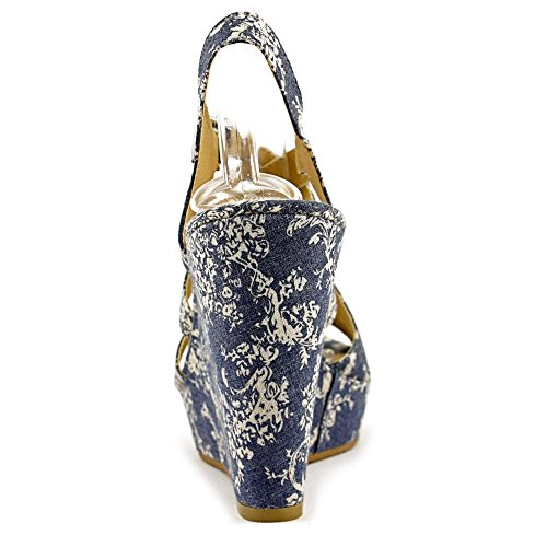 American Rag Rachey 2 Kunstleder Keilabsätze Sandale Blue Vintage
