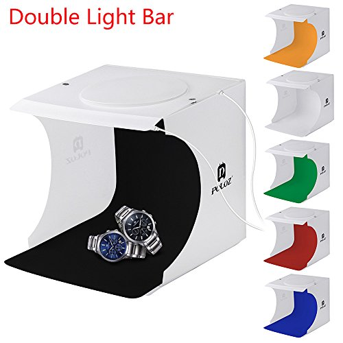 SMILEQ® Doppelte LED-Licht-Raum-Foto-Studio-Fotografie, die Zelt-Hintergrund-Würfel-Kasten beleuchtet (mehrfarbig)