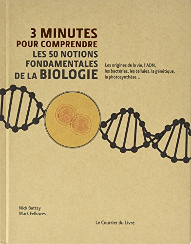 3 minutes pour comprendre les 50 notions fondamentales de la biologie / sous la direction de Nick Battey, Mark Fellowes ; collaborateurs Nick Battey, Brian Clegg, Phil Dash... [et al.] ; illustrations Steve Rawlings.- Paris : le Courrier du livre , copyright 2017